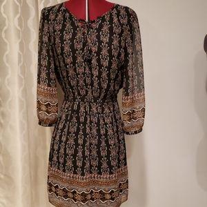 Madewell 4 Peasant Dress Black Brown Sheer Sleeves